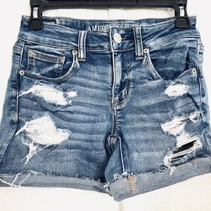 AMERICAN EAGLE MIDI Cut Off Ripped Jean Shorts 4